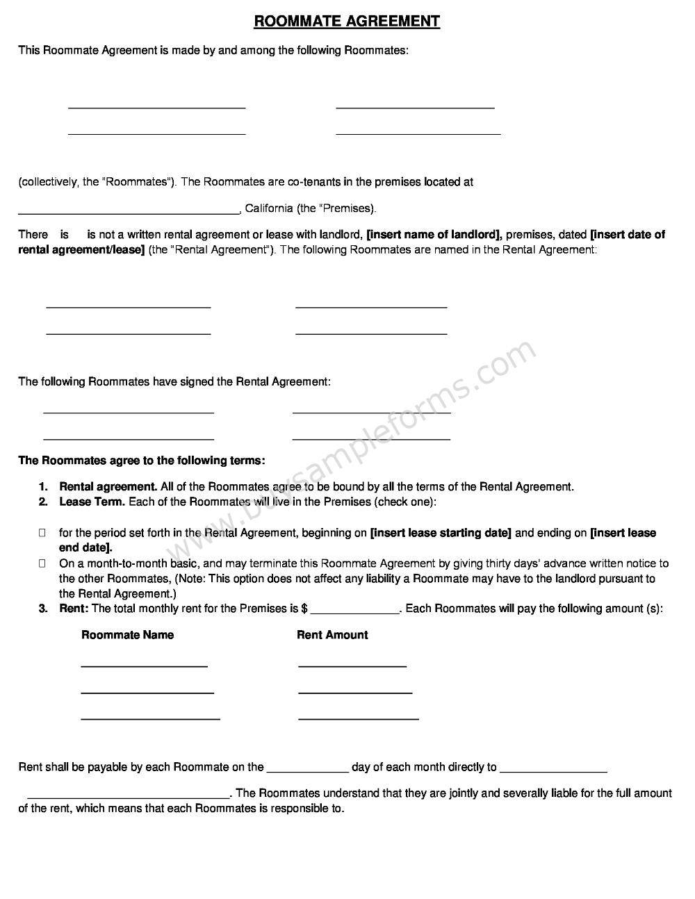 Rental Agreement Template Word Doc