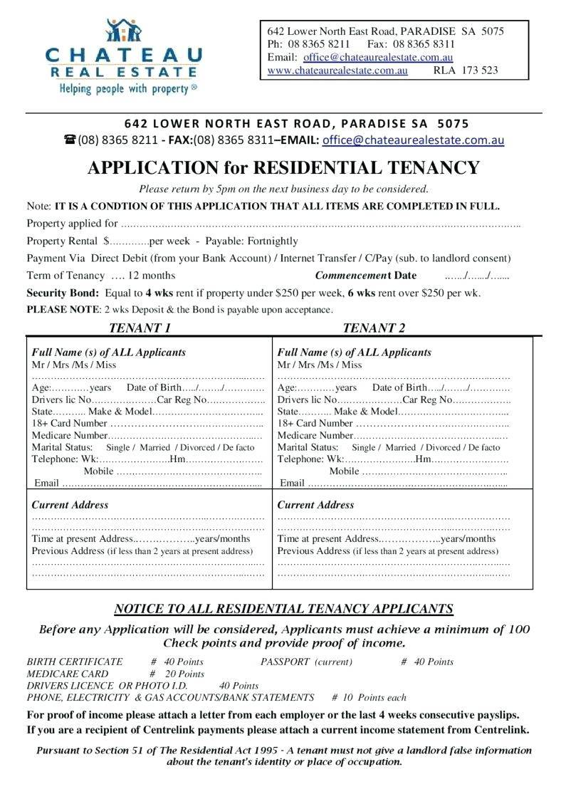 Rental Application Form Template Australia