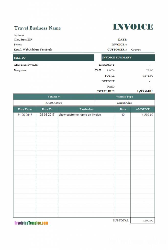 Rental Invoice Template Xls