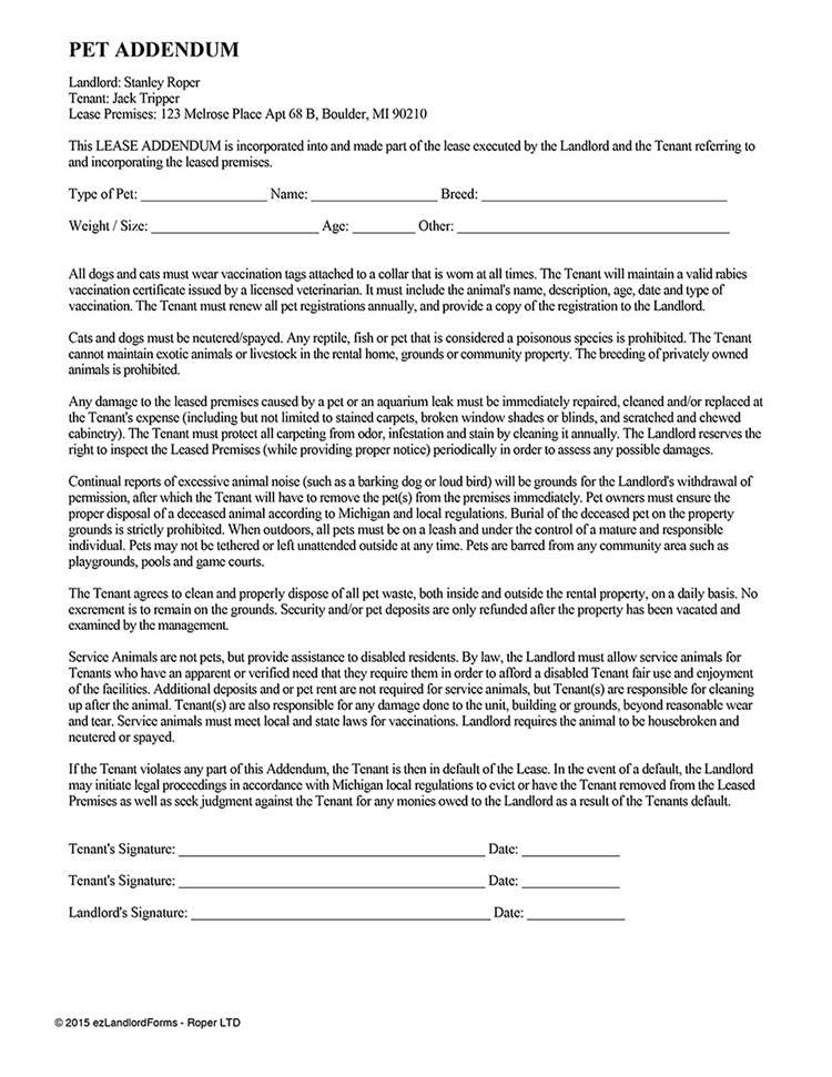 Rental Lease Addendum Template
