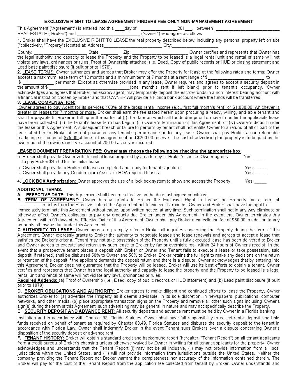 Rental Lease Agreement Florida Template Free