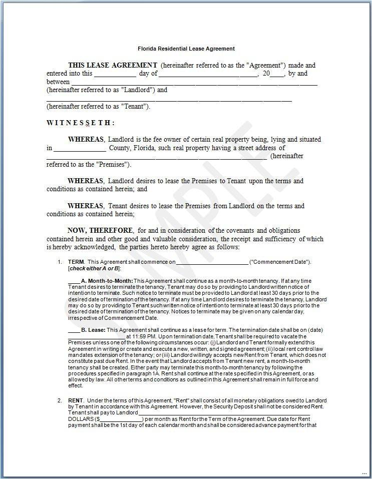 Rental Lease Agreement Template Florida