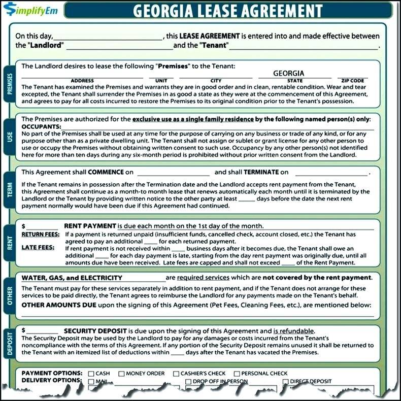 Rental Lease Template Ga