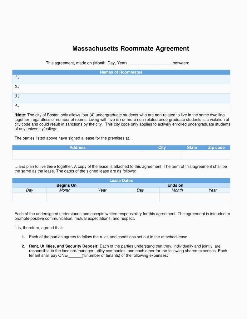 Rental Lease Template Massachusetts