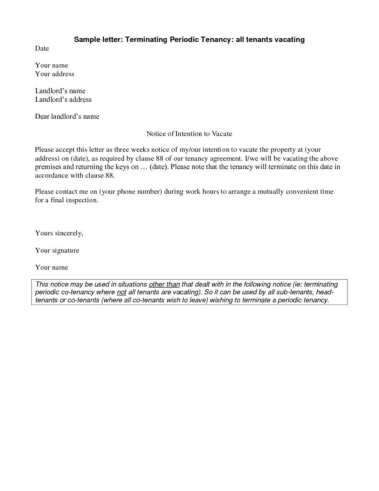 Rental Notice To Vacate Template