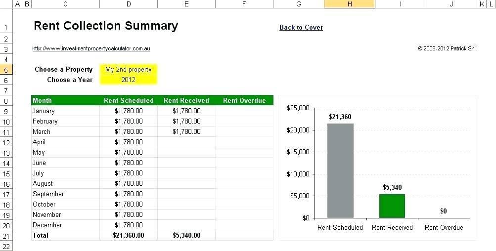 Rental Payment Spreadsheet Template