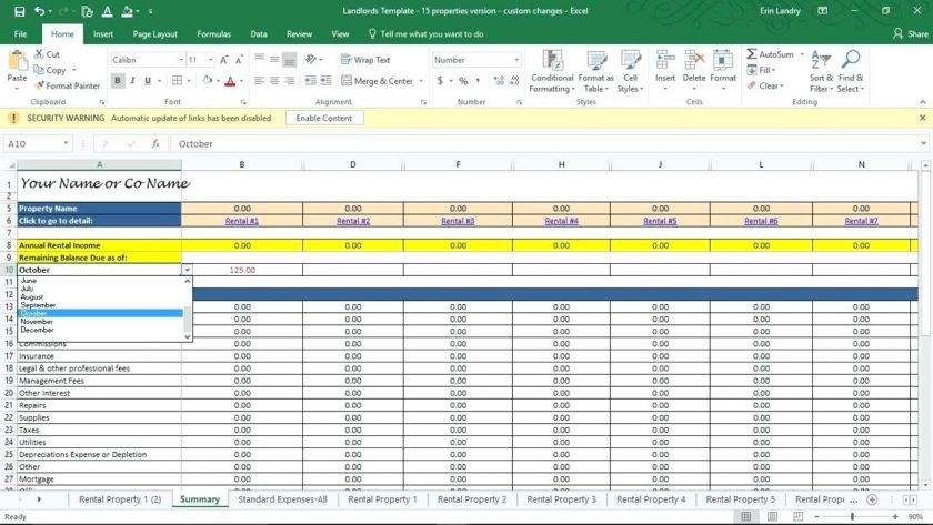 Rental Property Tracking Spreadsheet Template