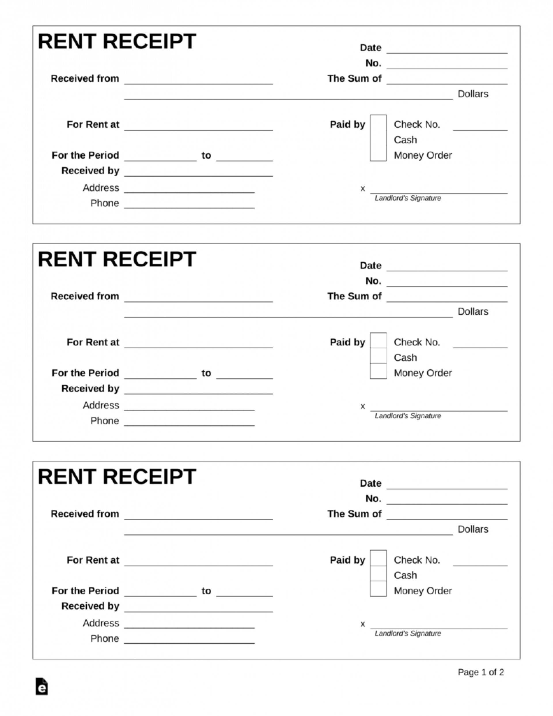Rental Receipts Format Word