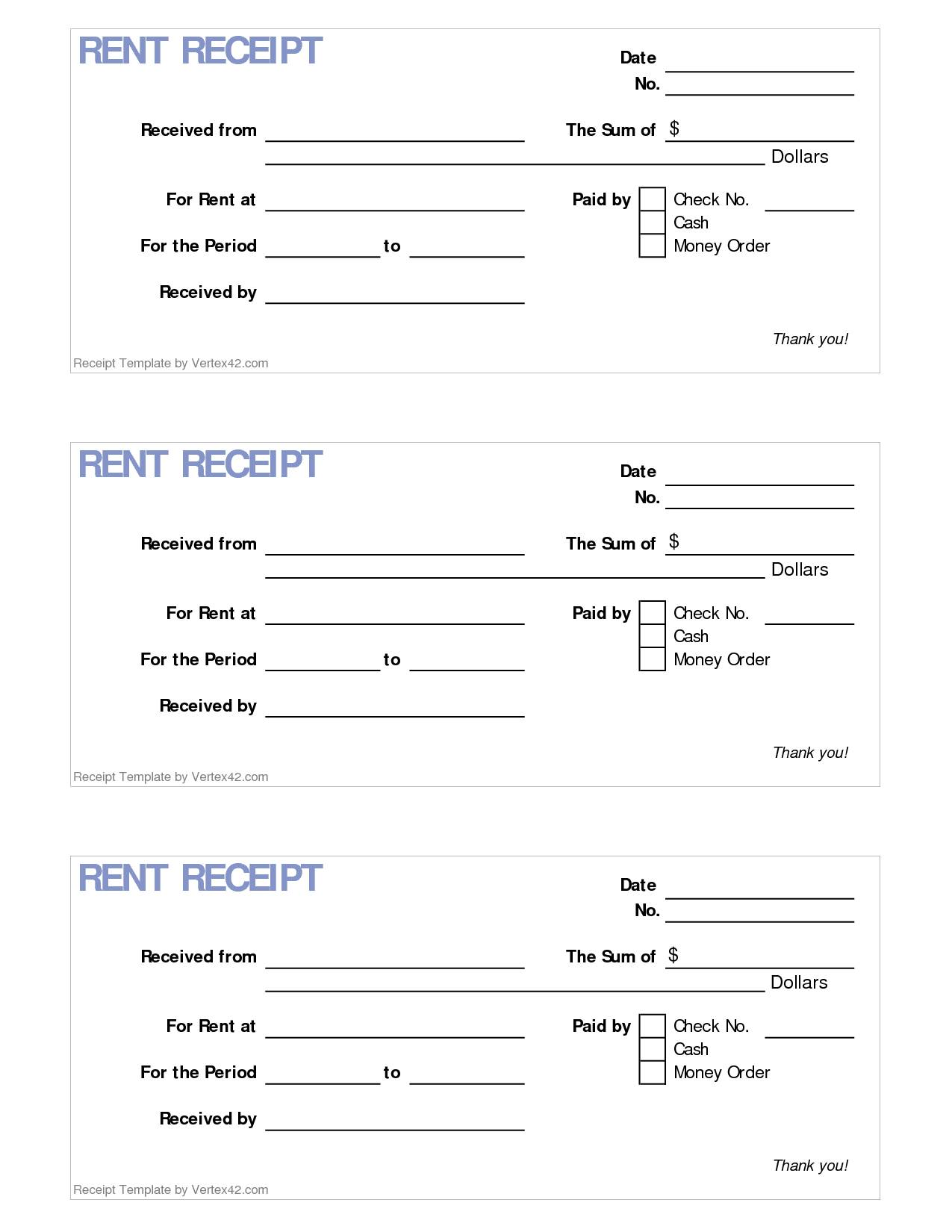 Rental Receipts Forms