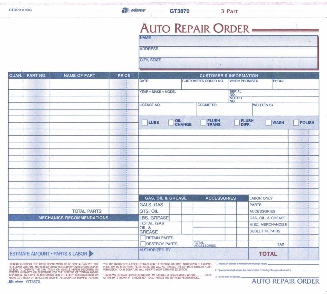 Repair Order Template Excel