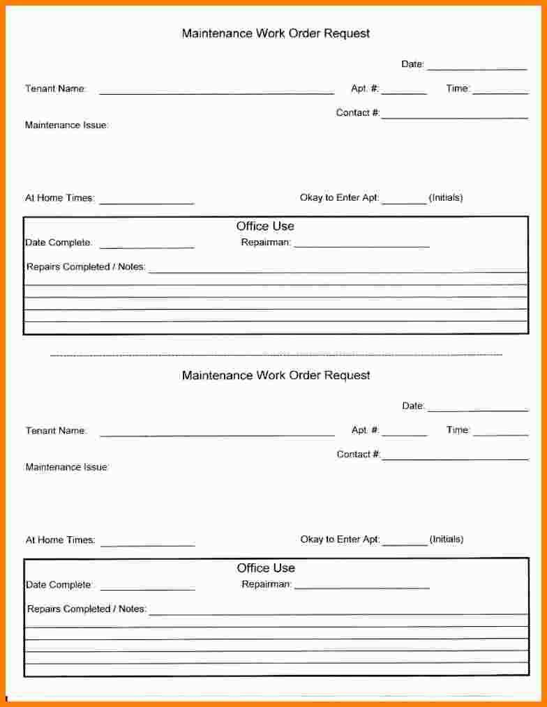 Repair Request Form Template