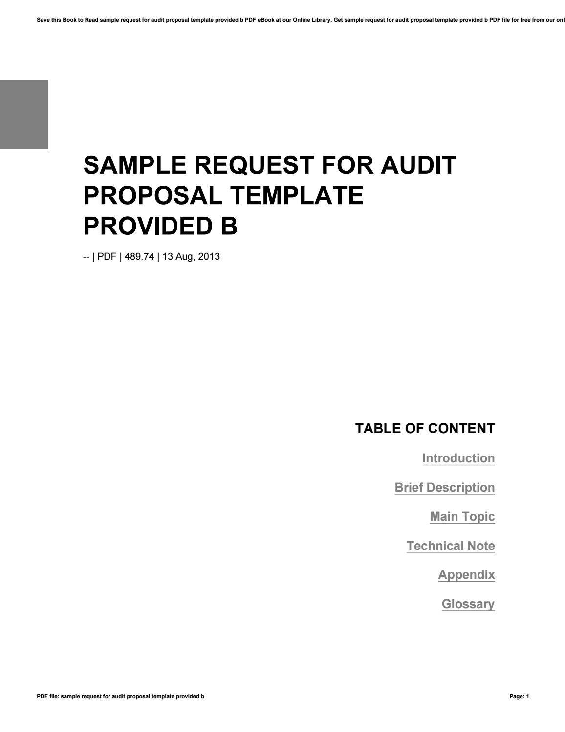 Request For Audit Proposal Template