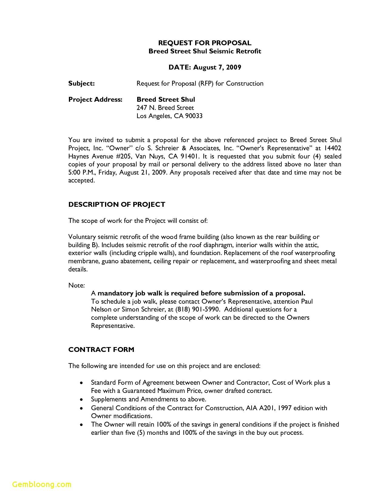 Request For Proposal Rfp Template Construction