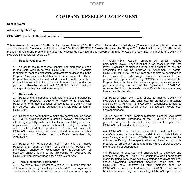 Reseller Contract Template Free