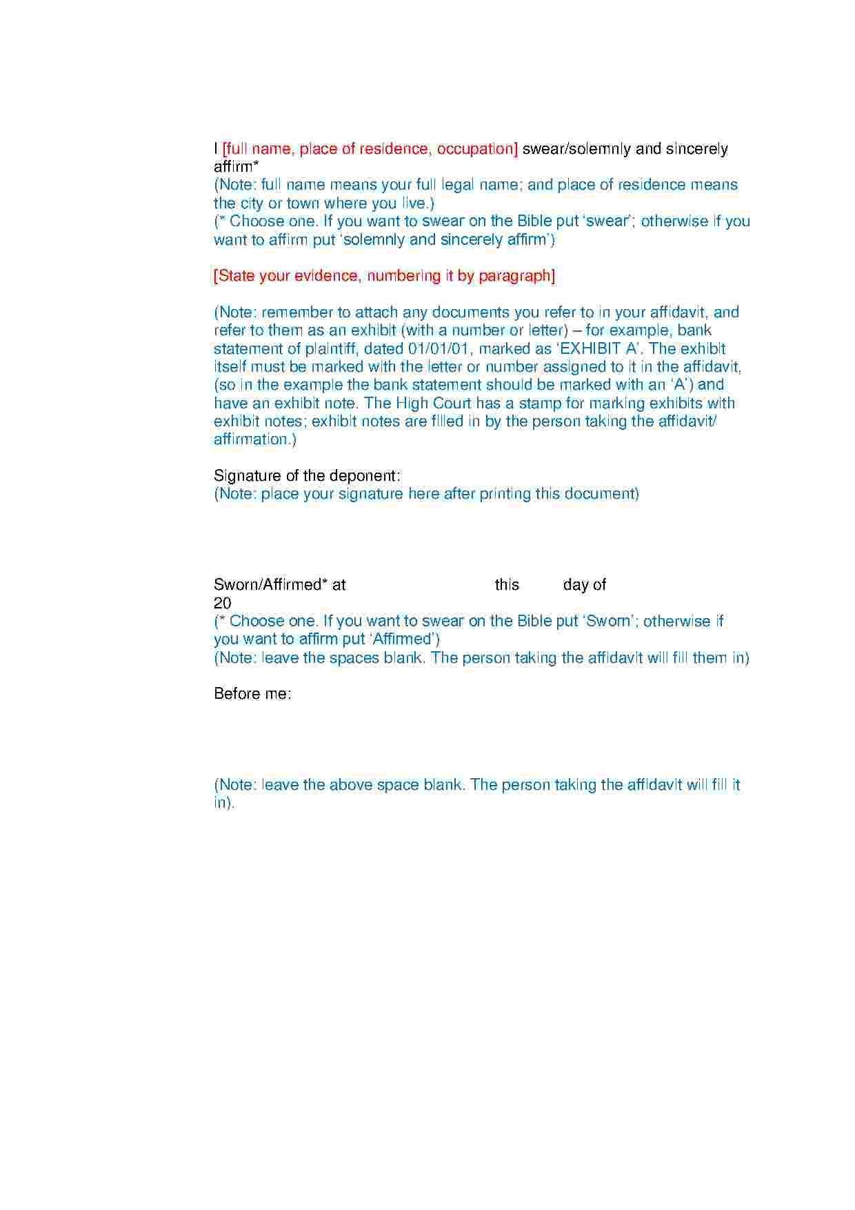 Residence Affidavit Template