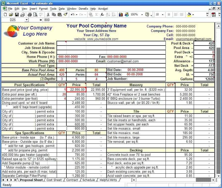 Residential Construction Estimate Template