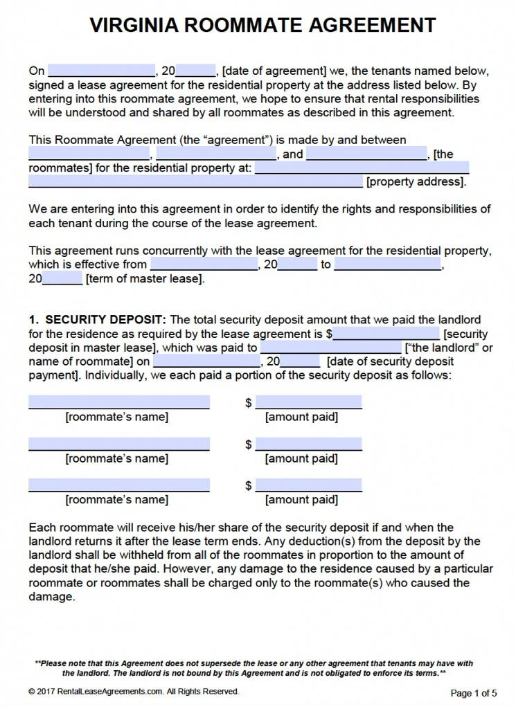 Residential Lease Agreement Template Virginia Free