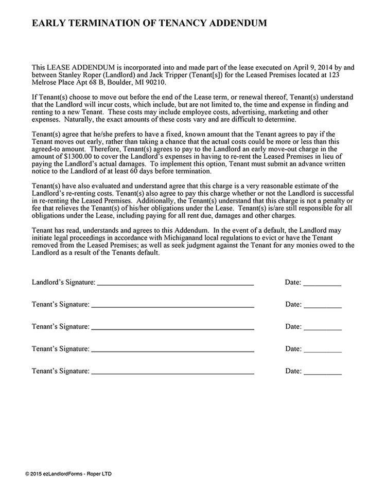 Residential Lease Termination Template