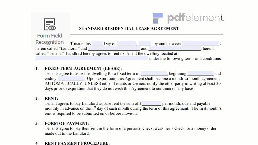 Residential Rental Agreement Template Free