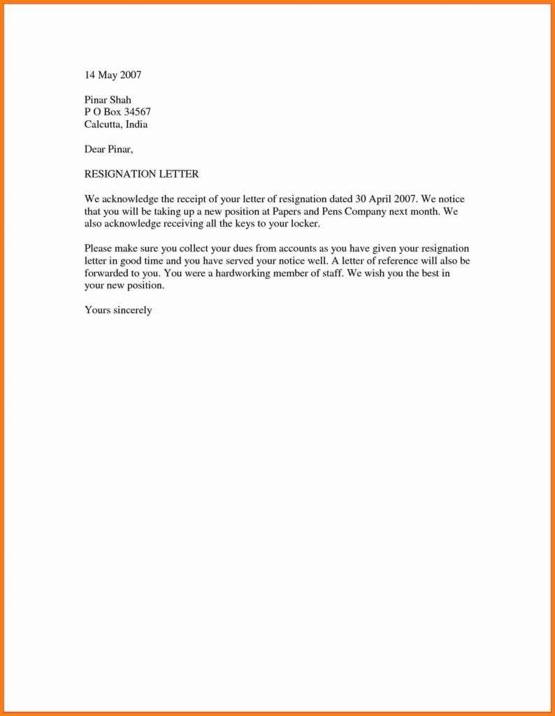 Resignation Acceptance Letter Template Free
