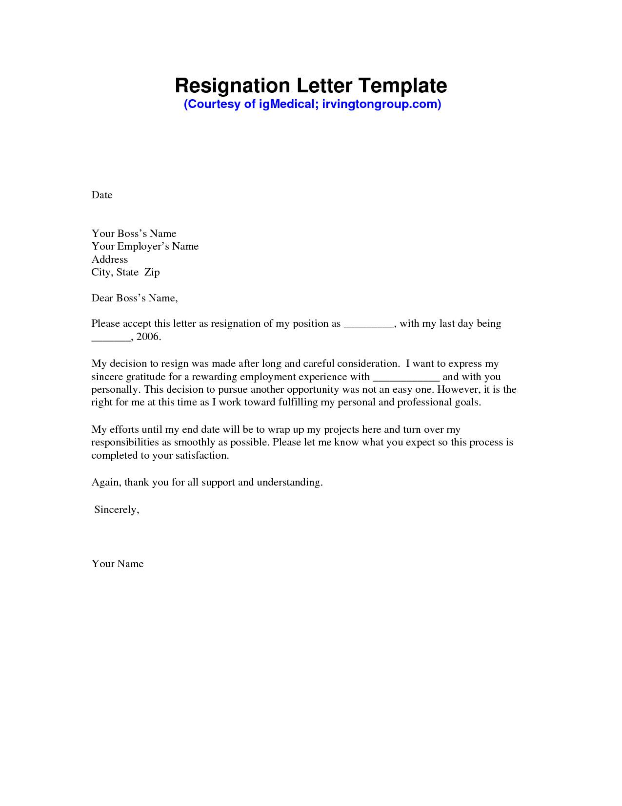 Resignation Letter Sample Template Free