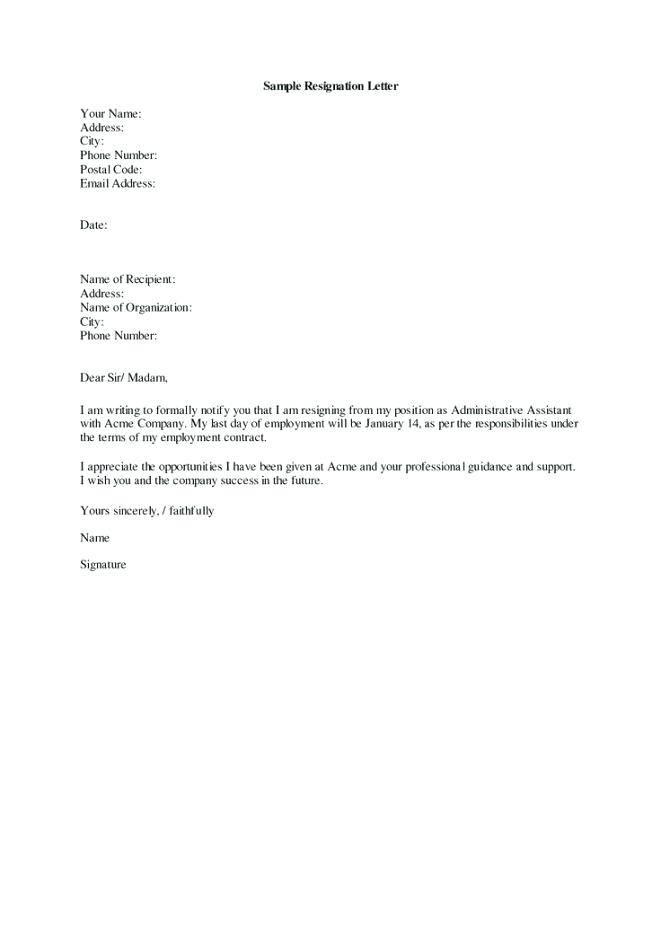 Resignation Letter Template Australia