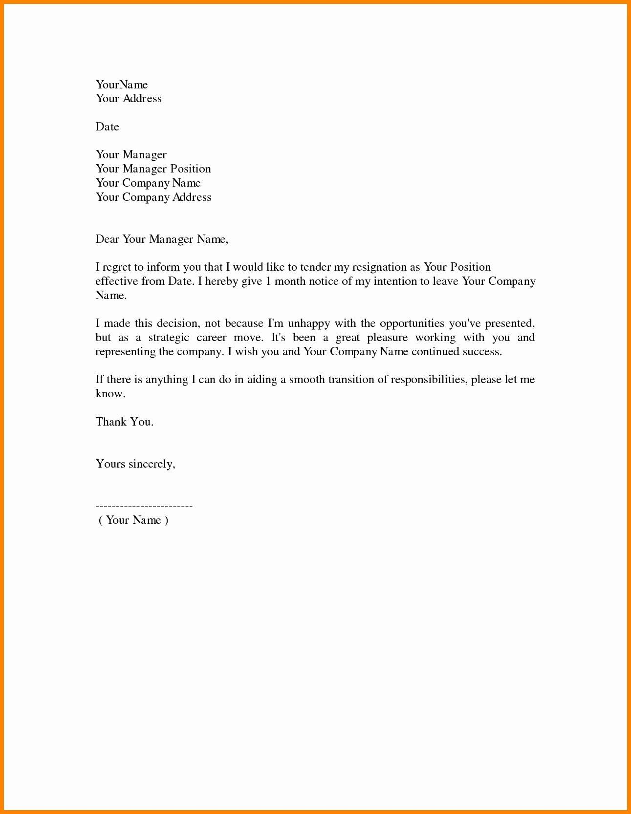 Resignation Letter Template Doc