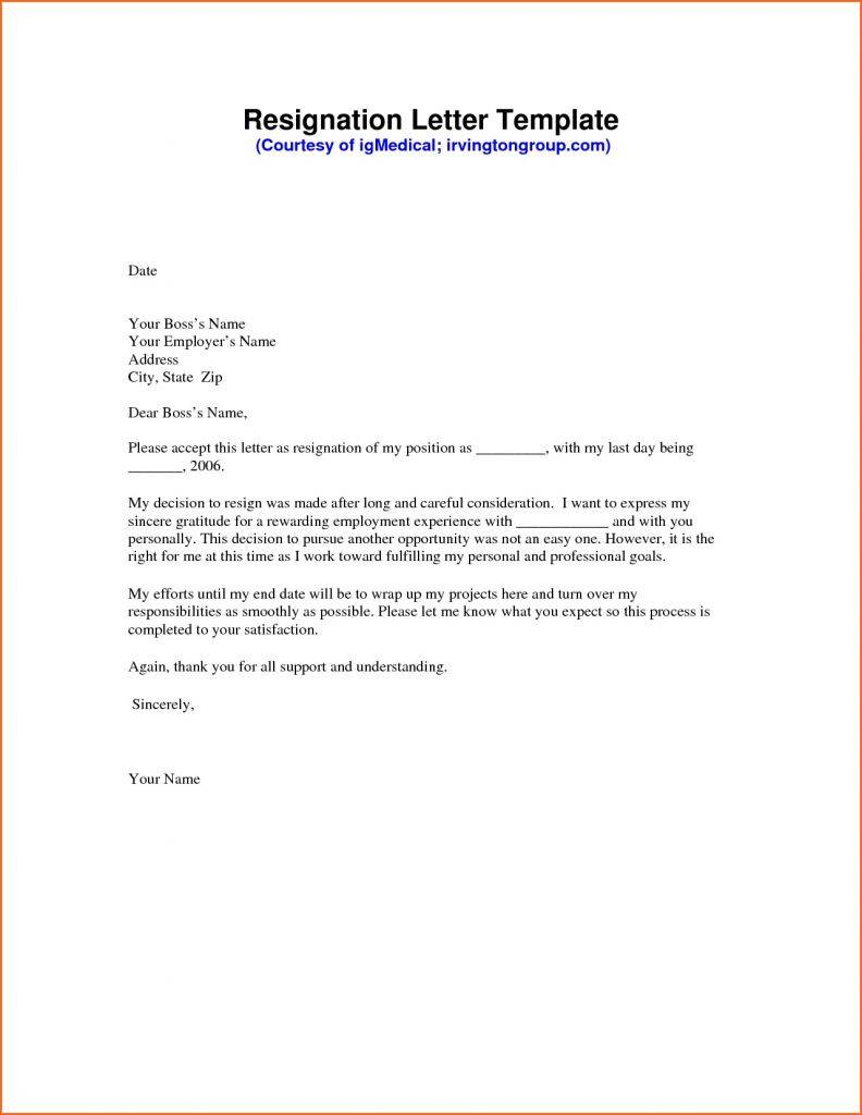 Resignation Letter Template Google Docs
