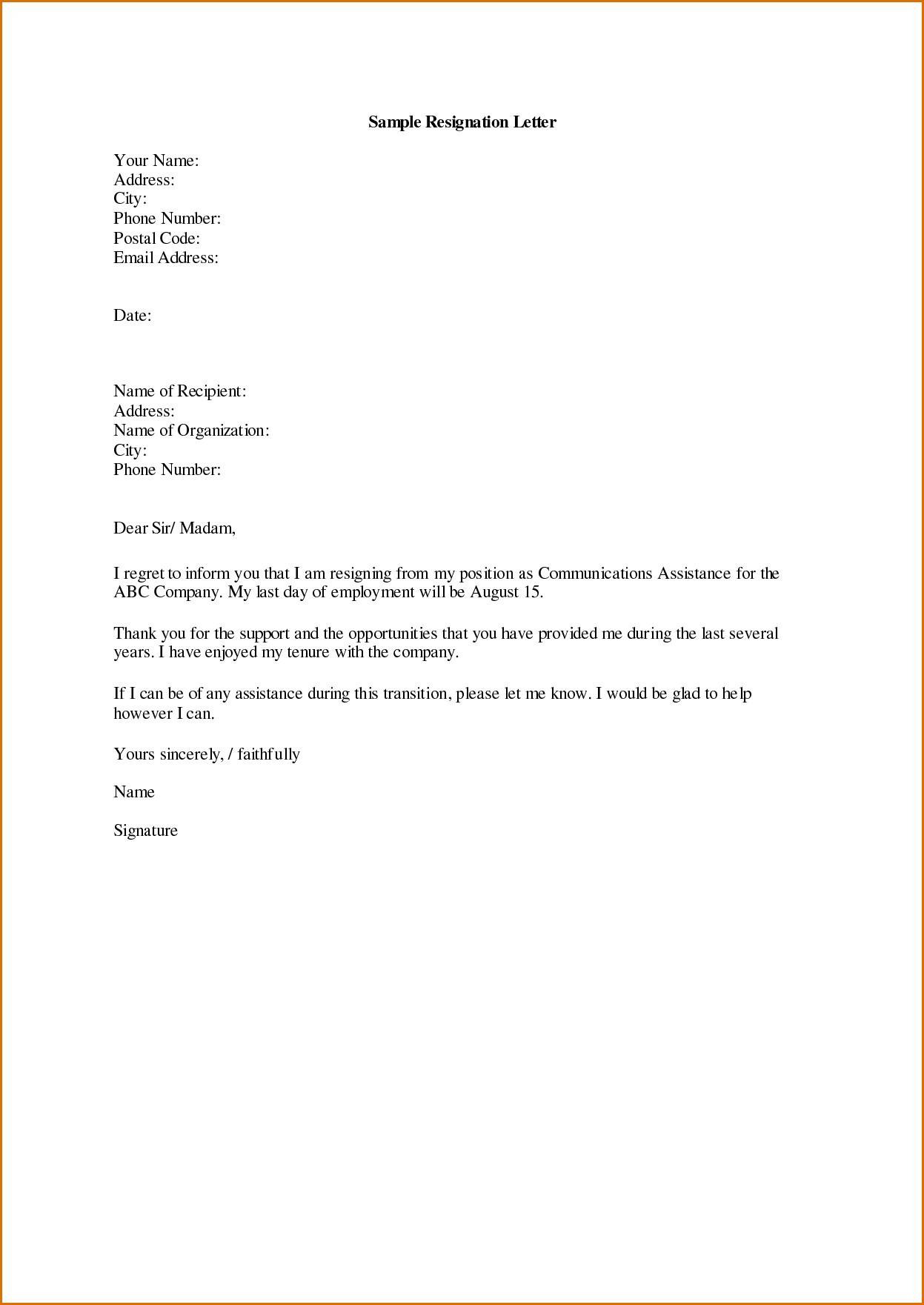 Resignation Letter Template Singapore