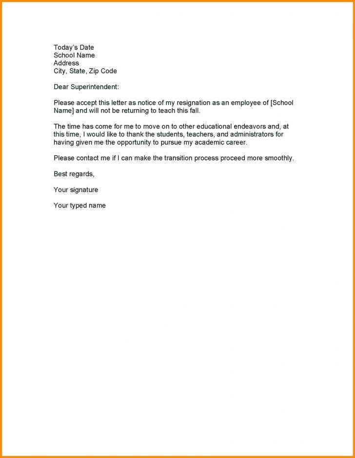 Resignation Letter Template Teacher