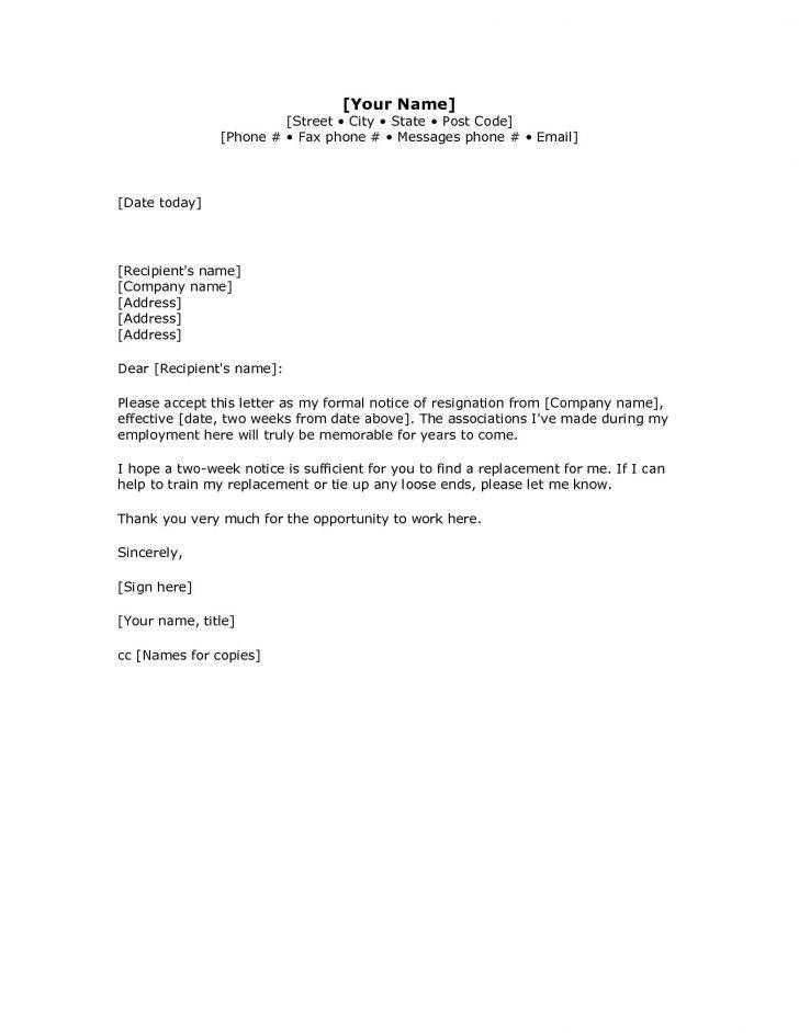 Resignation Letter Template Two Weeks Notice