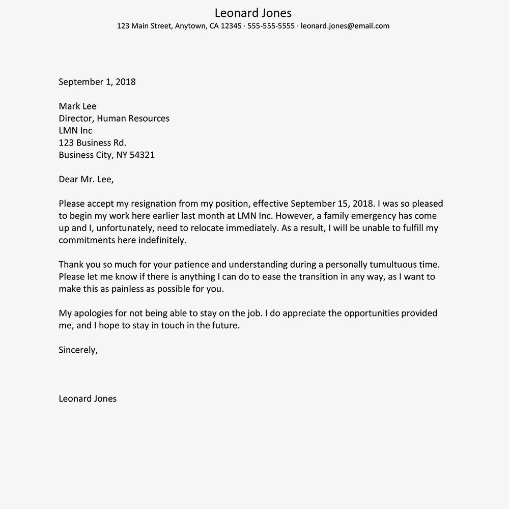 Resignation Letter Template Uk Free