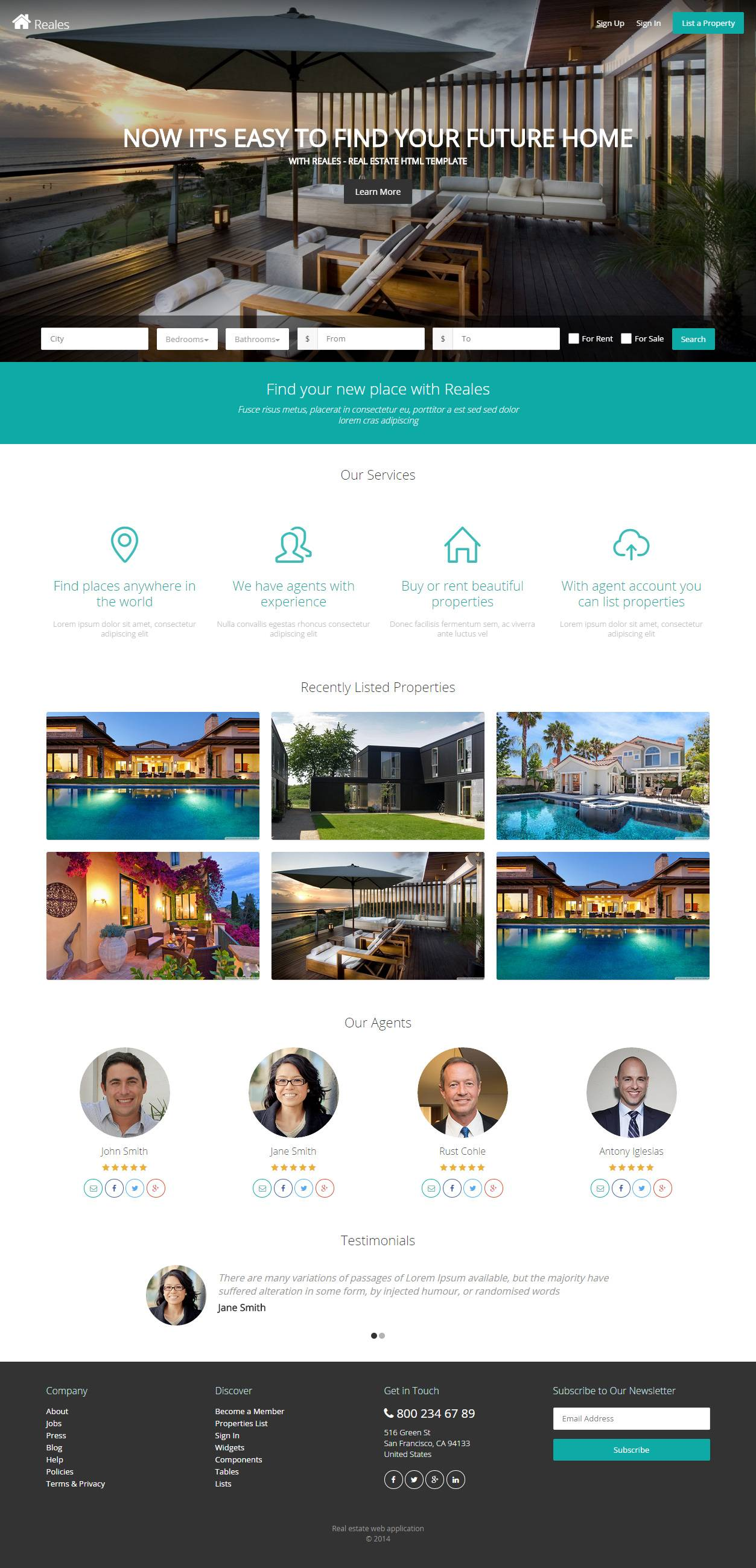 Responsive Real Estate Website Templates