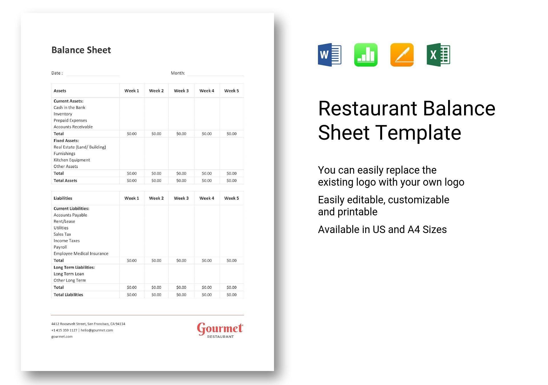 Restaurant Balance Sheet Template