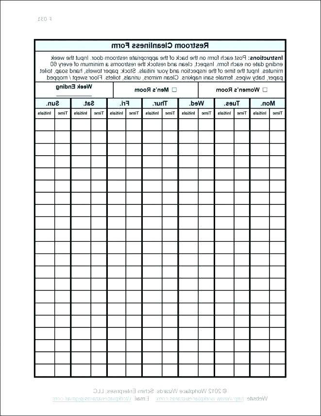 Restaurant Cleaning Checklist Template Excel