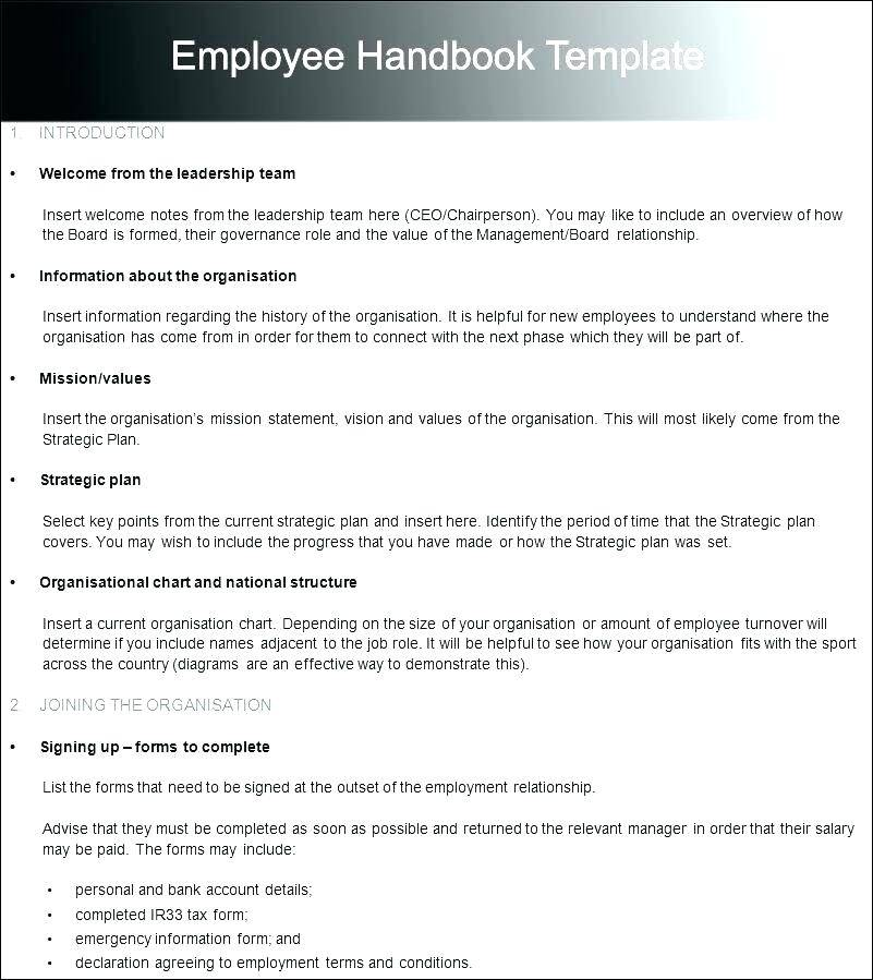 Restaurant Employee Handbook Template Free Download