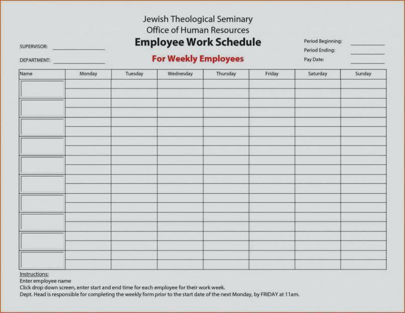 Restaurant Employee Schedule Template Free