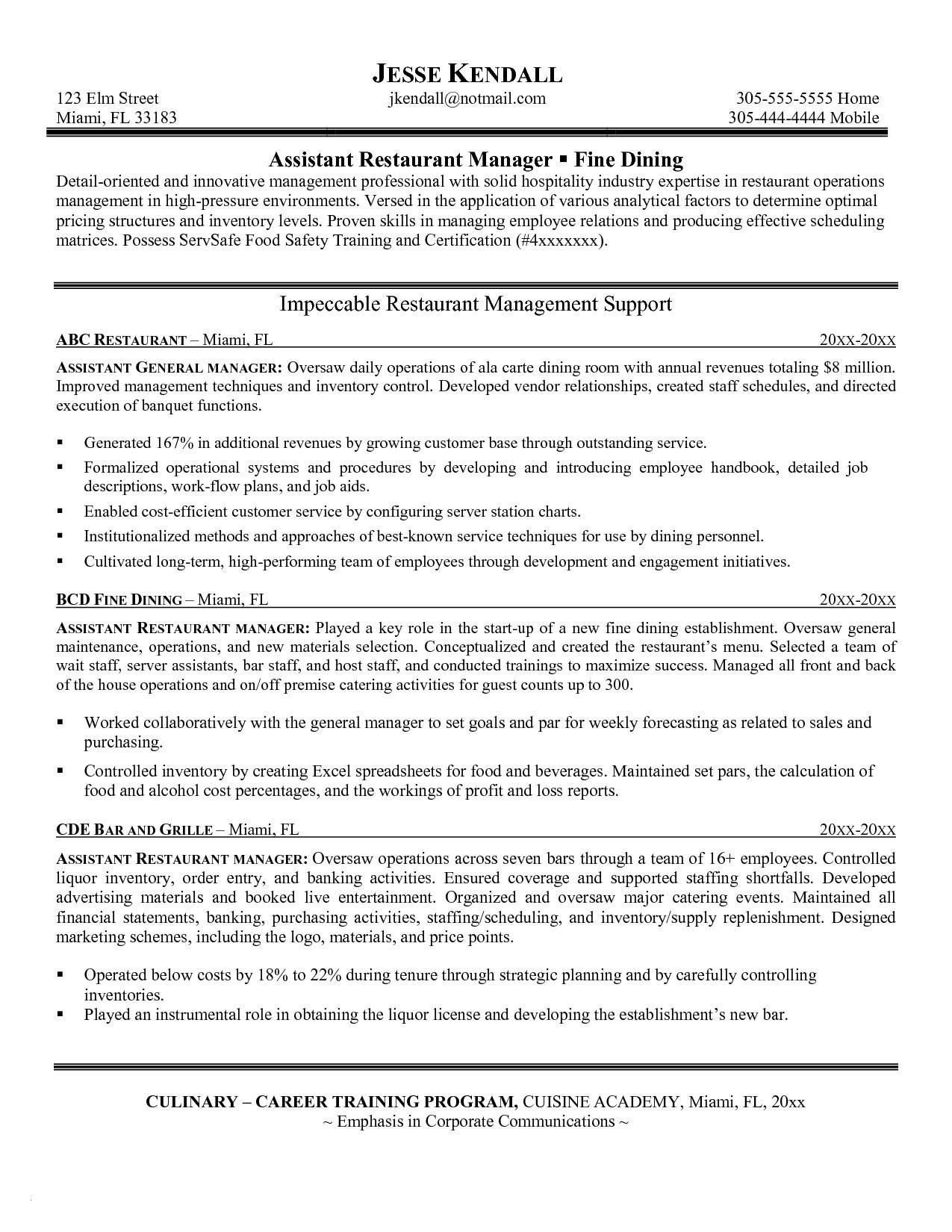 Restaurant General Manager Resume Template