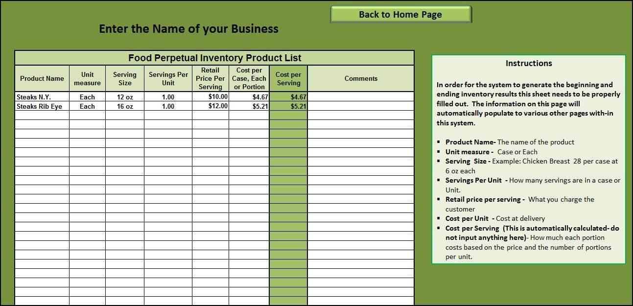 Restaurant Inventory Control Template