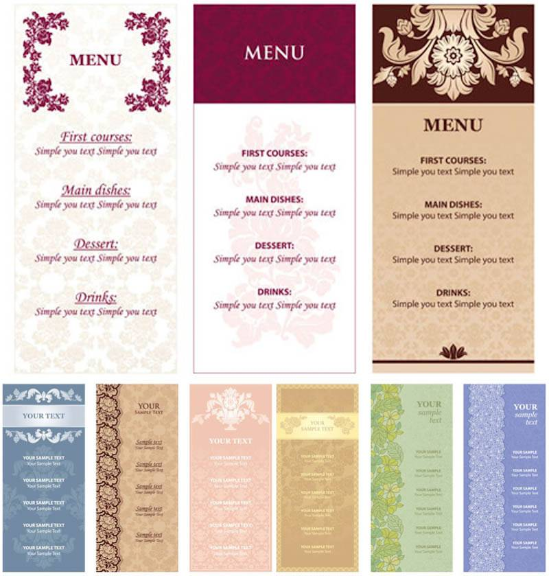Restaurant Menu Design Templates Free