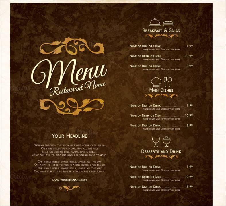 Restaurant Menu Design Templates Illustrator