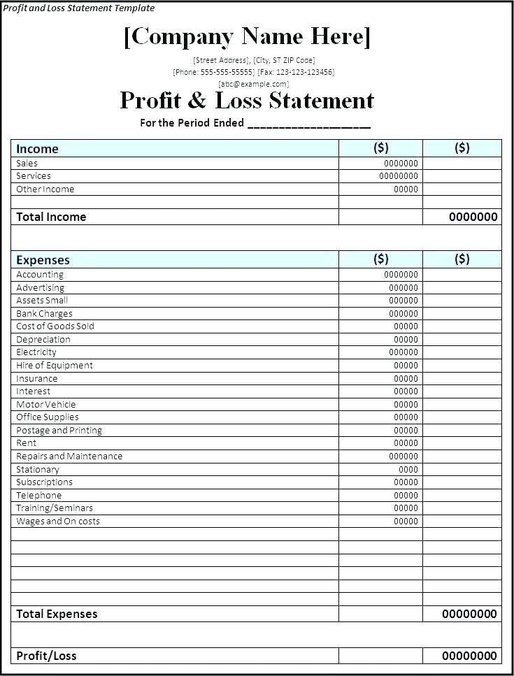 Restaurant Profit And Loss Statement Sample