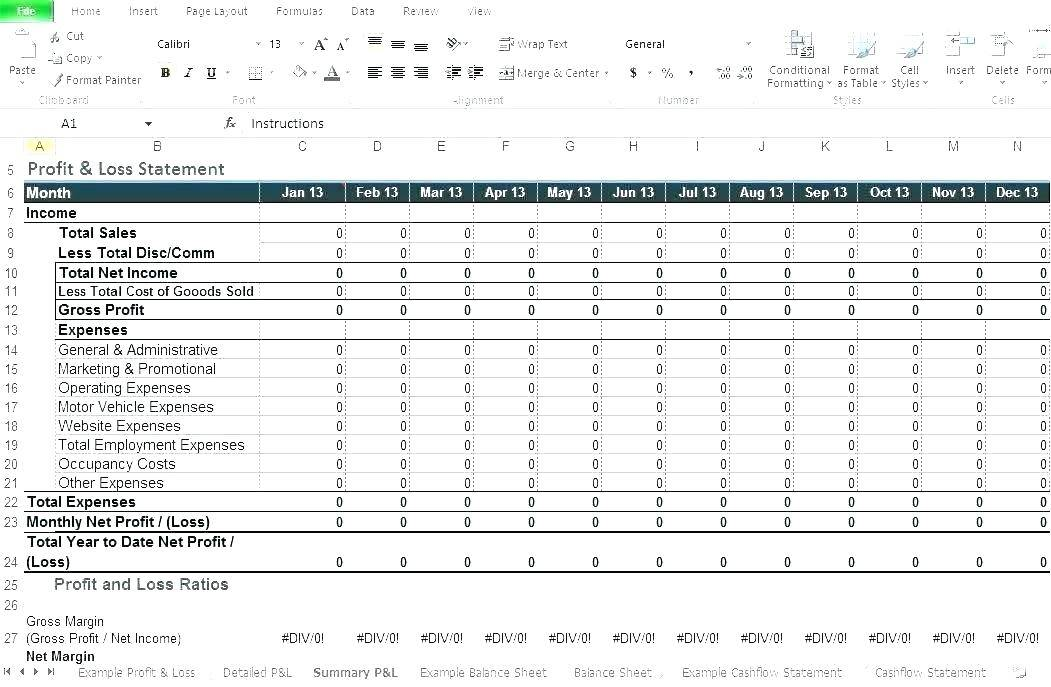 Restaurant Profit And Loss Template Free