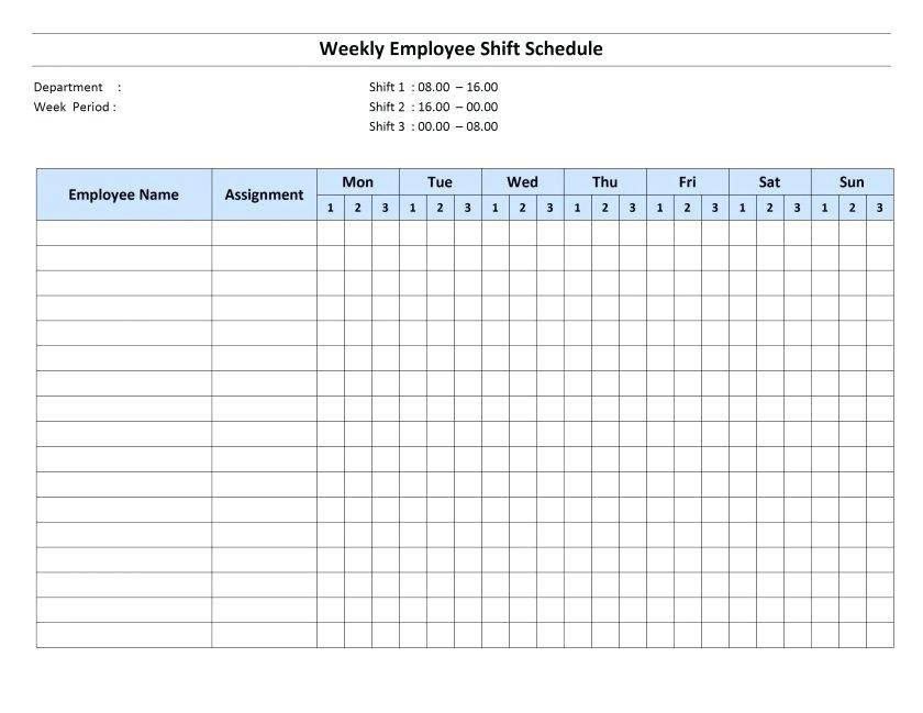 Restaurant Schedule Template For Mac