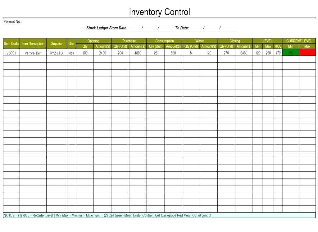 Restaurant Stock Inventory Template