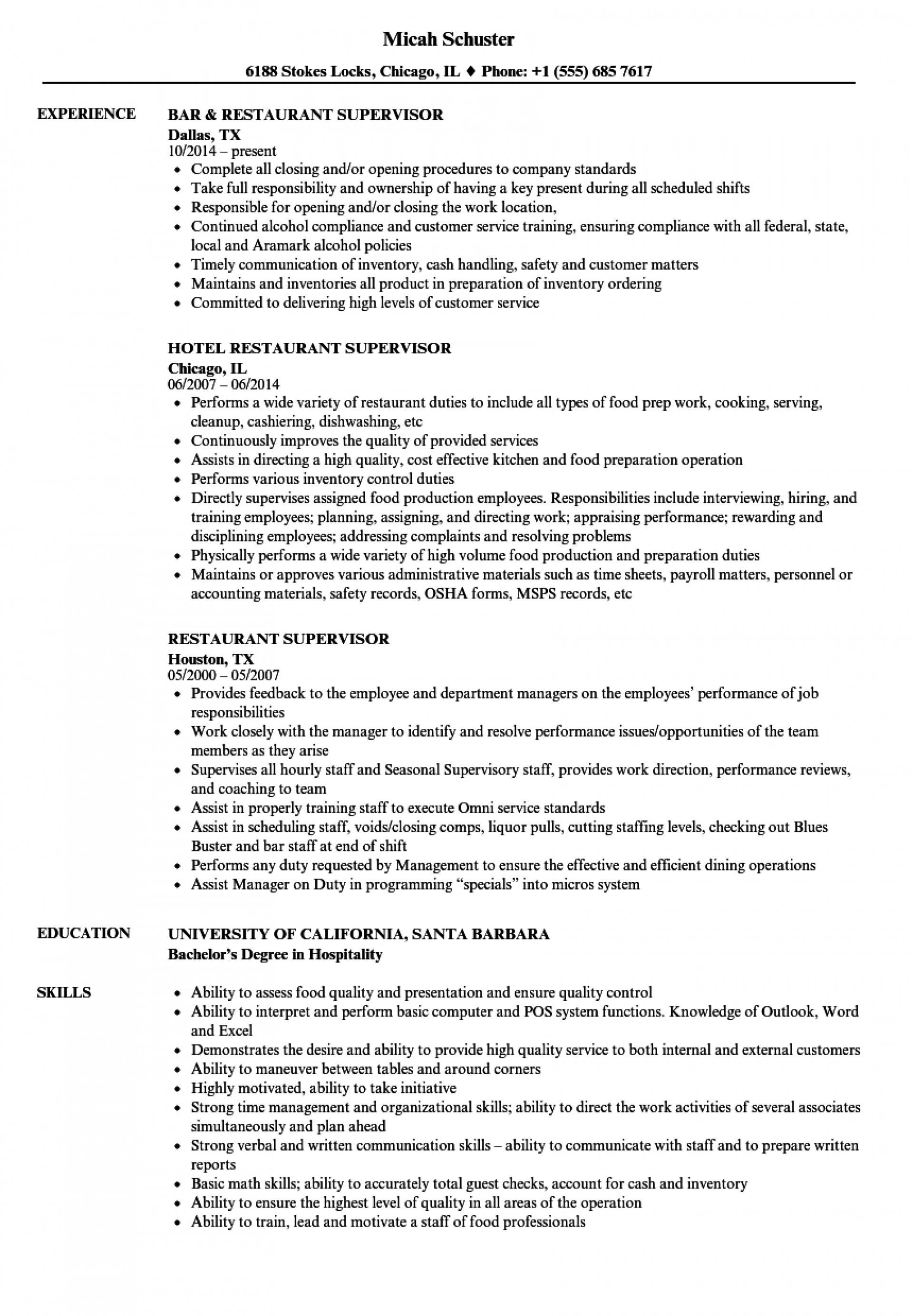 Restaurant Supervisor Resume Template