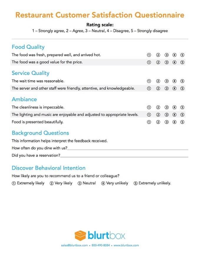 Restaurant Survey Questions Template