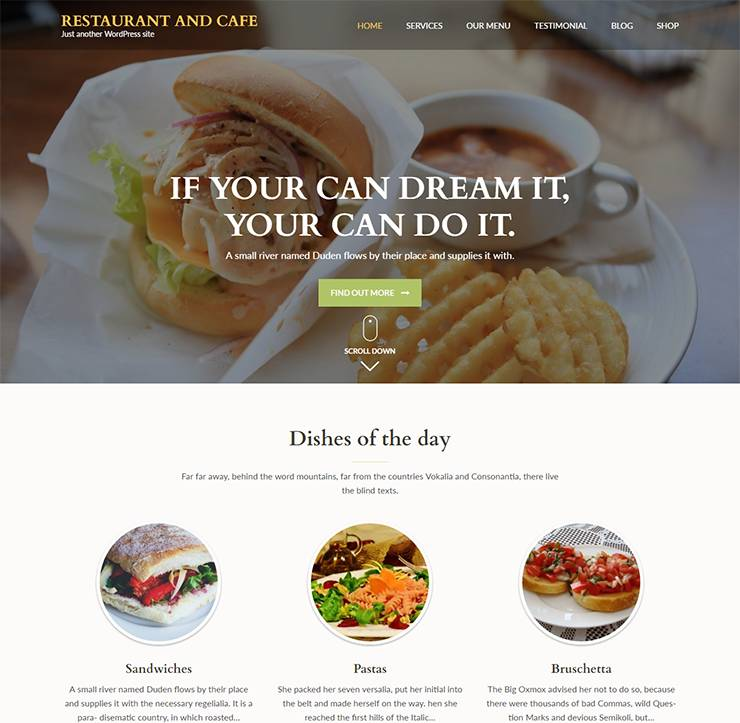 Restaurant Website Templates WordPress Free
