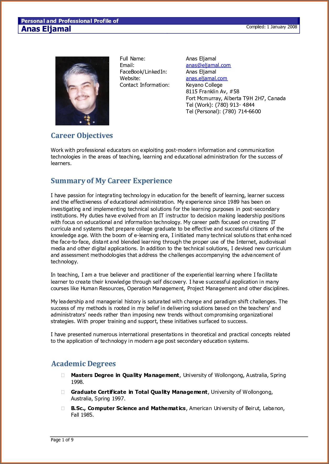 Resume Cv Template Doc