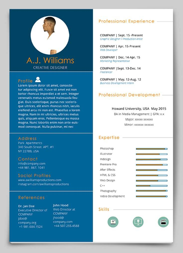Resume Cv Template Indesign